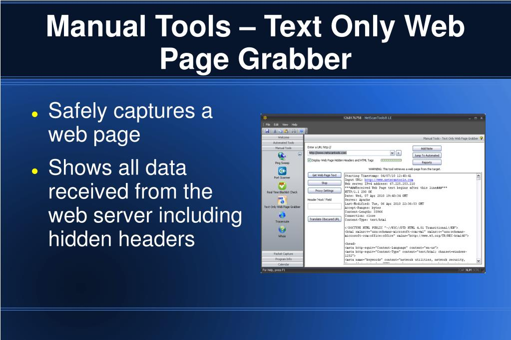 Manual Tools – Text Only Web Page Grabber