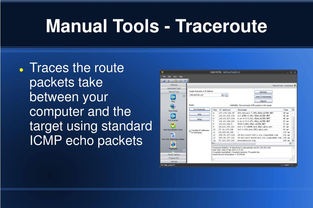 Manual Tools - Traceroute