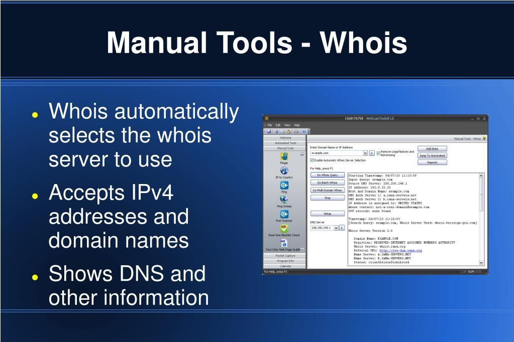Manual Tools - Whois