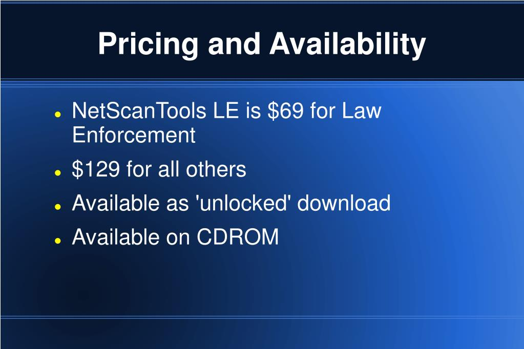 Pricing and Availability