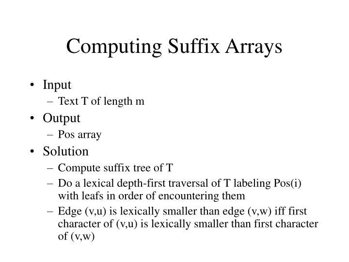 Computing Suffix Arrays