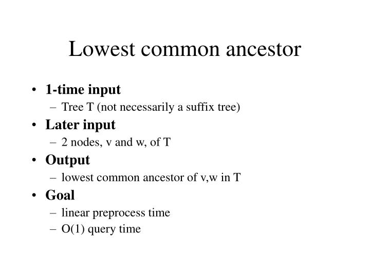 Lowest common ancestor