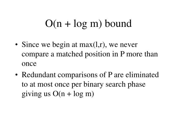 O(n + log m) bound
