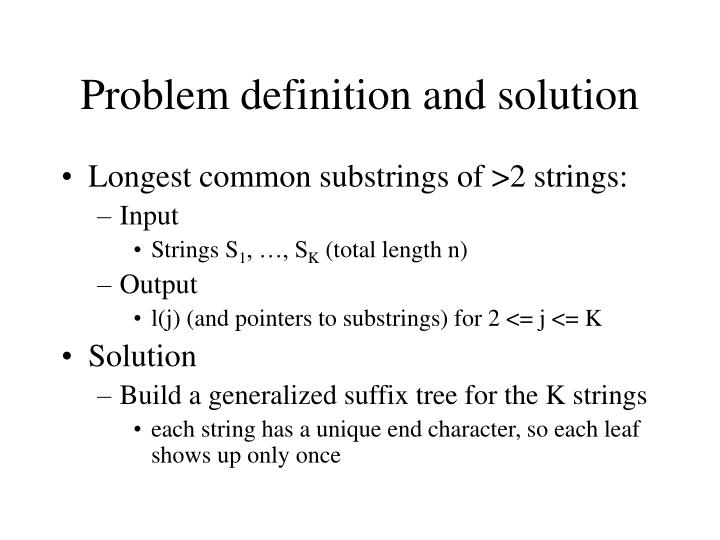Problem definition and solution