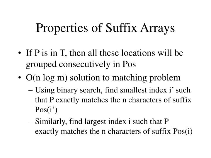 Properties of Suffix Arrays