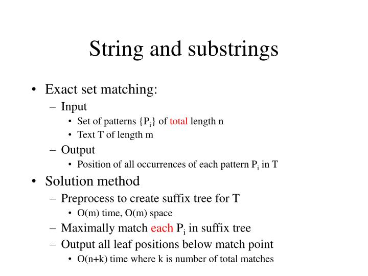 String and substrings