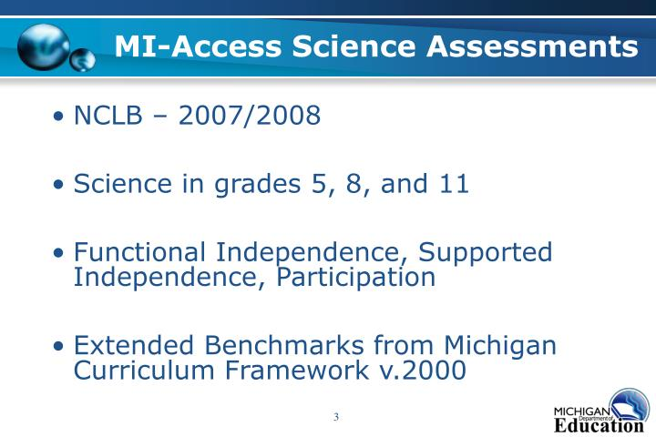 Mi access science assessments
