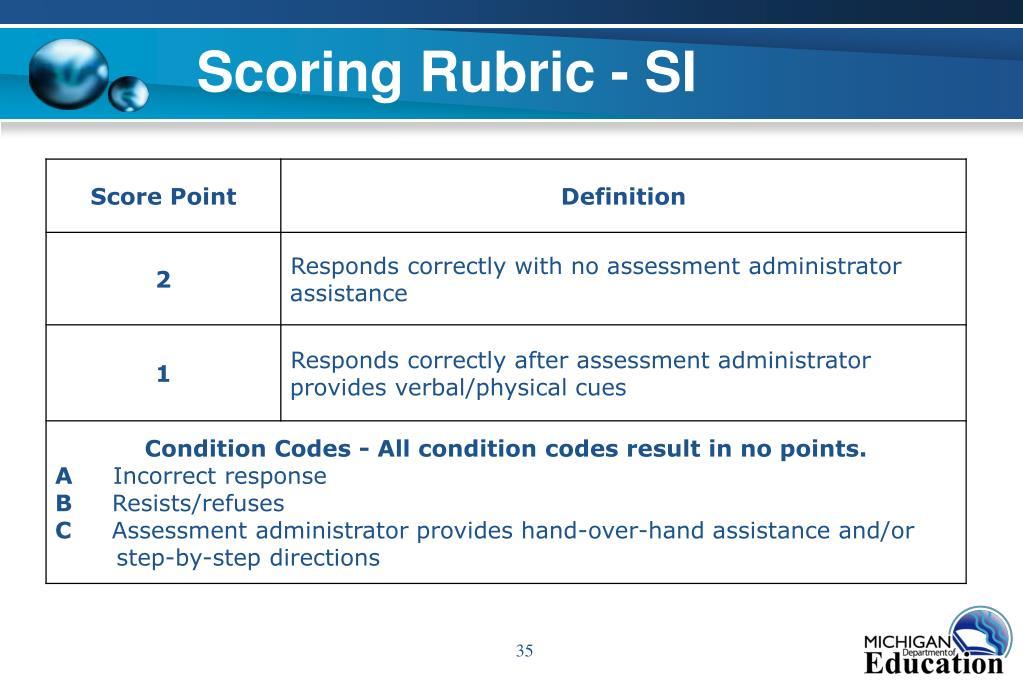 Scoring Rubric - SI