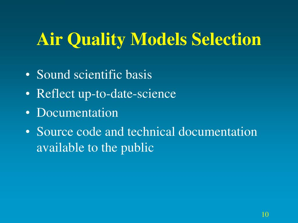 Air Quality Models Selection
