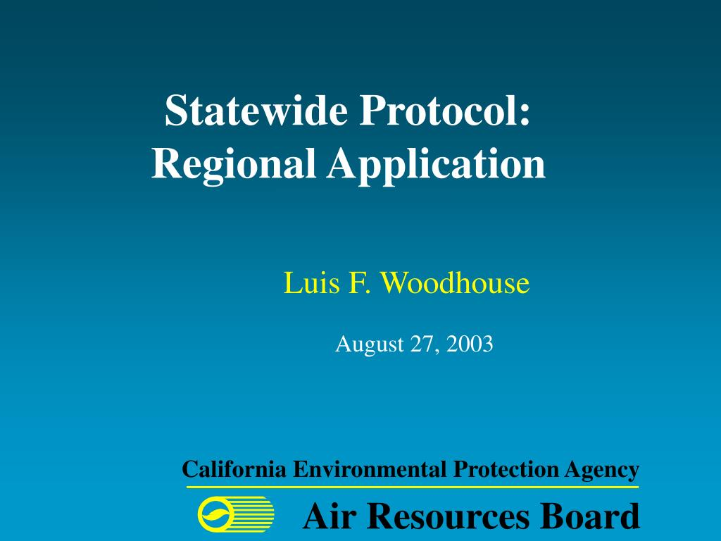 statewide protocol regional application