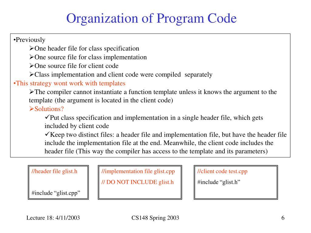 Organization of Program Code