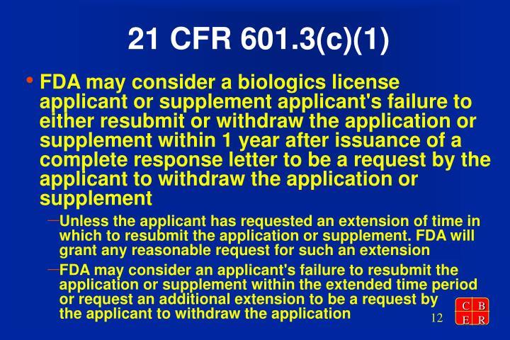 21 CFR 601.3(c)(1)