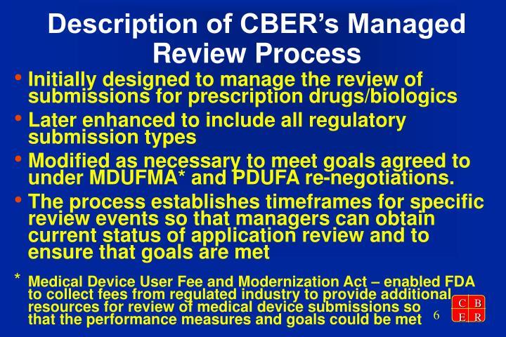 Description of CBER's Managed Review Process