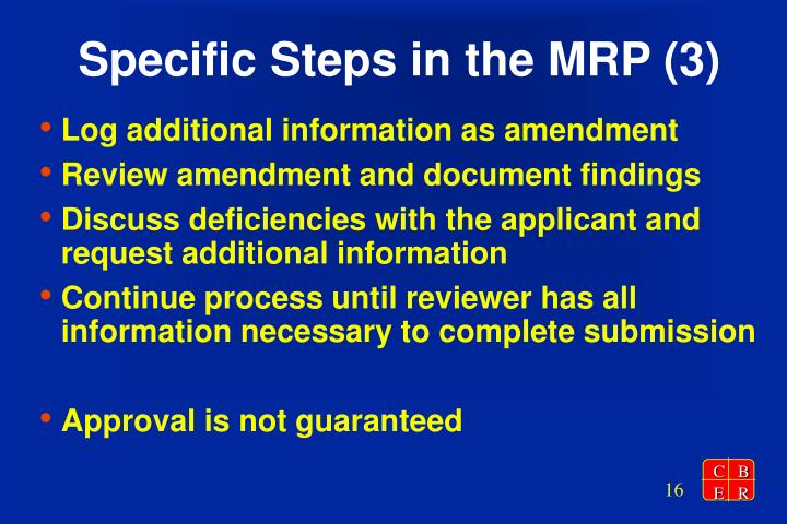 Specific Steps in the MRP (3)