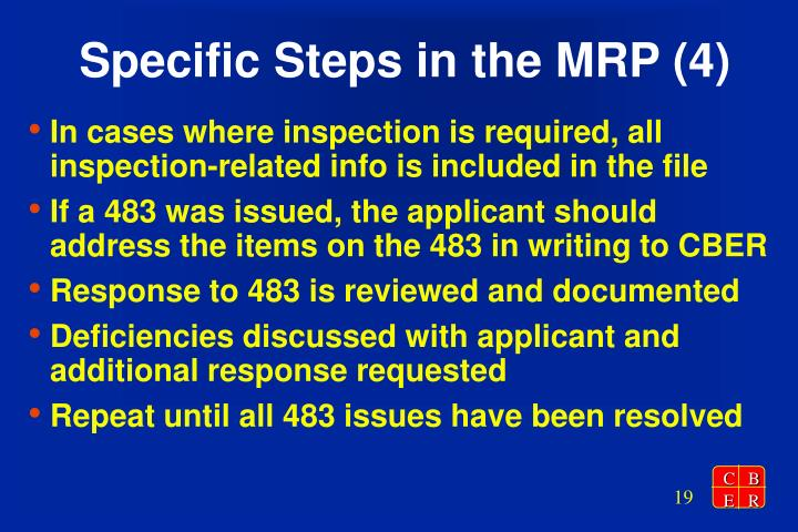 Specific Steps in the MRP (4)