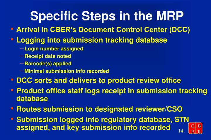 Specific Steps in the MRP