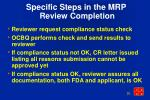 specific steps in the mrp review completion