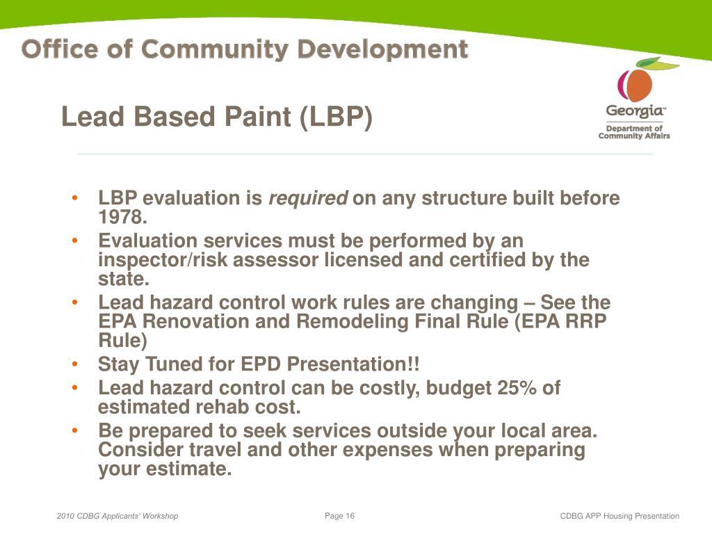 Lead Based Paint (LBP)