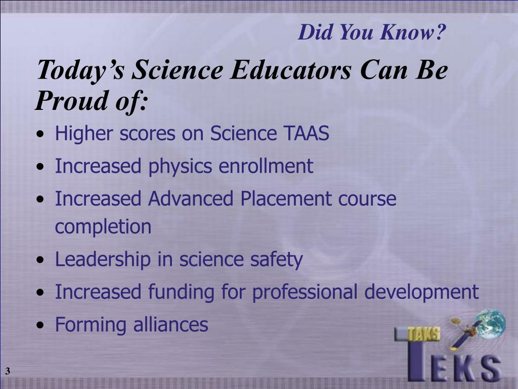 Today's Science Educators Can Be Proud of:
