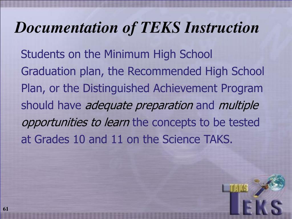 Documentation of TEKS Instruction