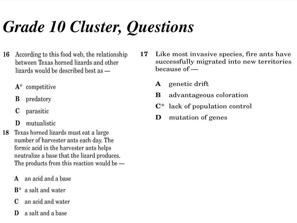 Grade 10 Cluster, Questions