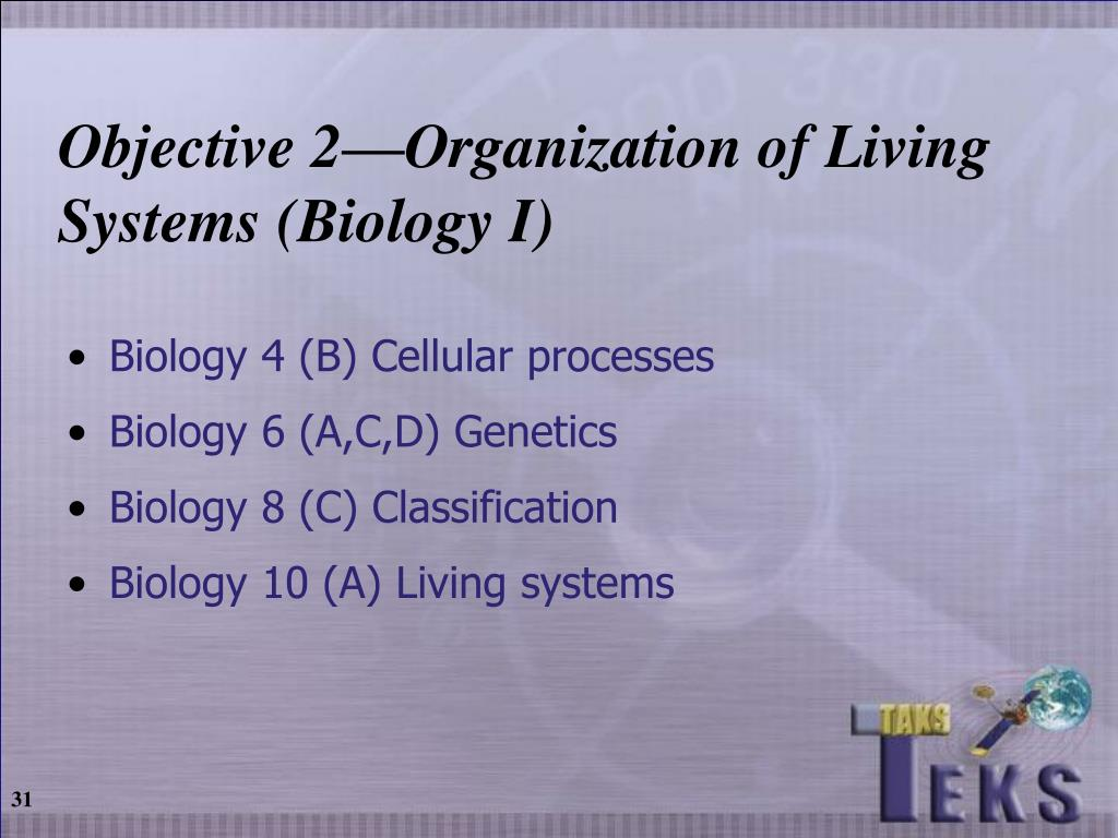 Objective 2—Organization of Living Systems (Biology I)
