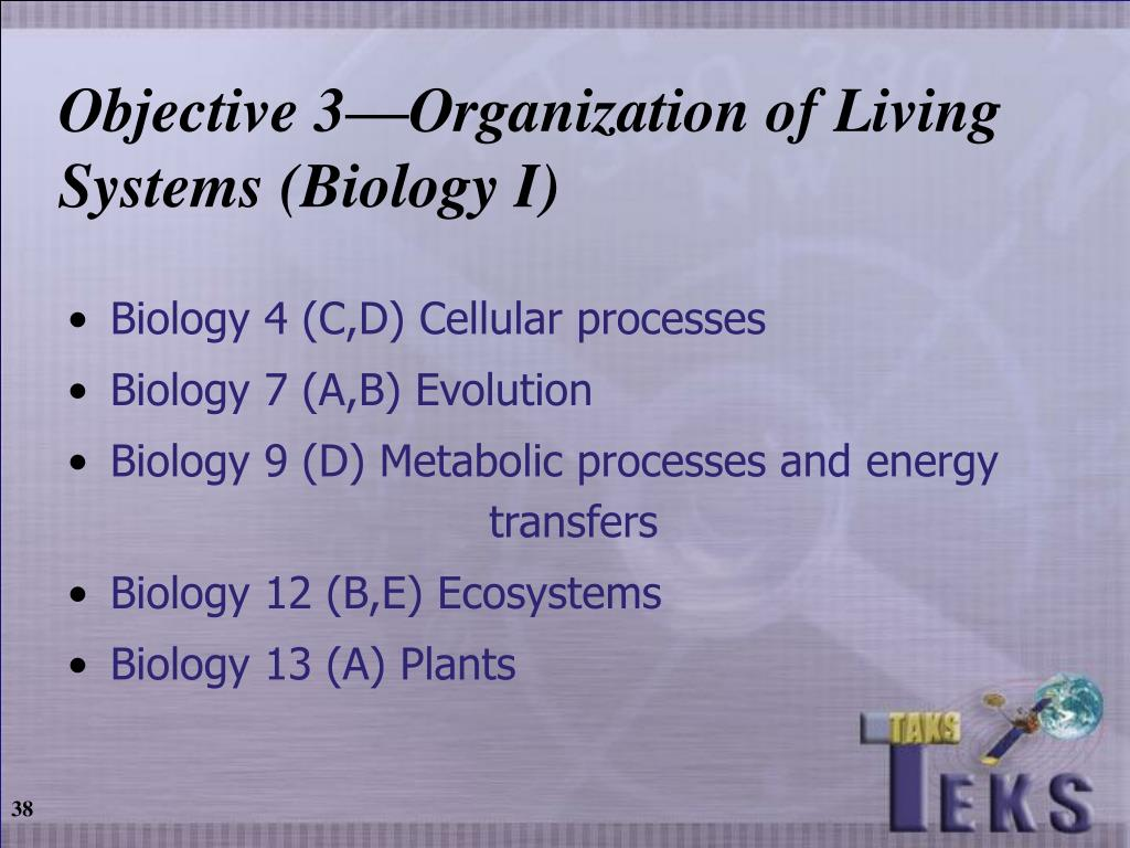 Objective 3—Organization of Living Systems (Biology I)