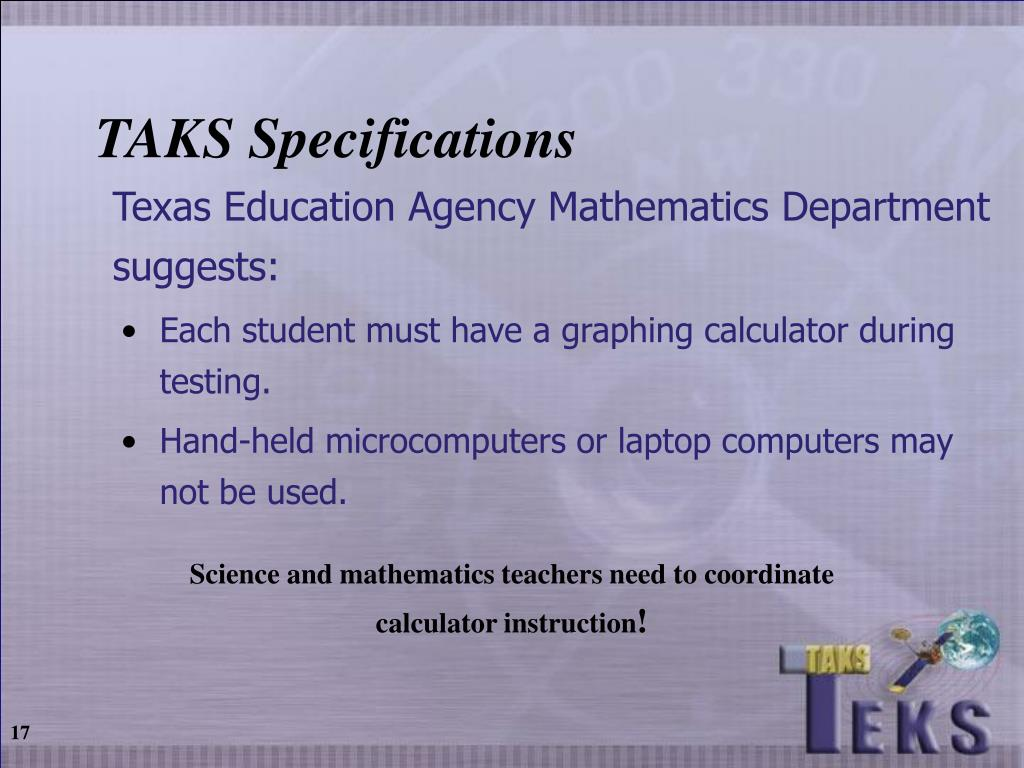 TAKS Specifications