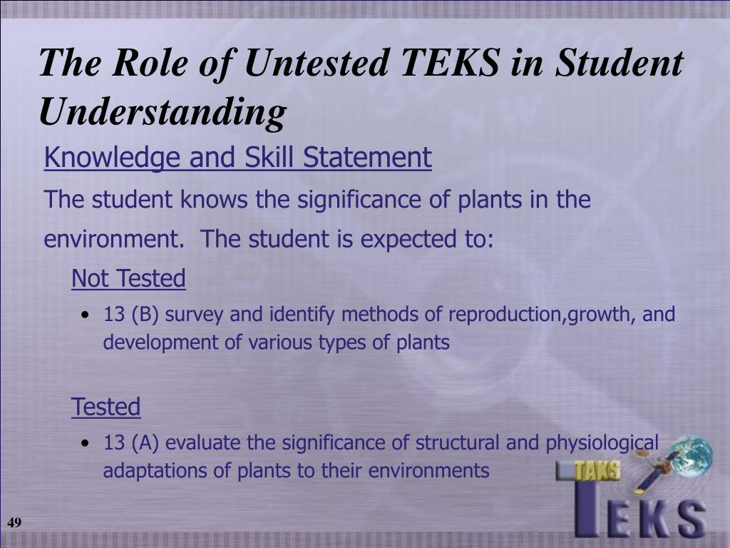 The Role of Untested TEKS in Student Understanding