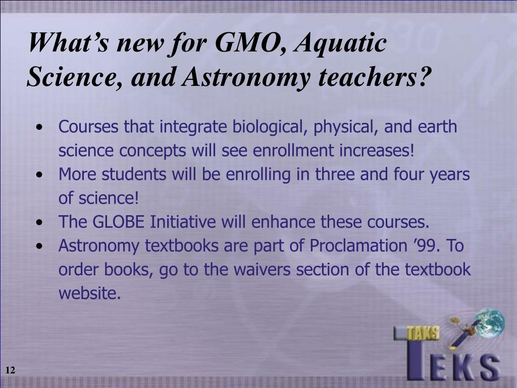 What's new for GMO, Aquatic Science, and Astronomy teachers?