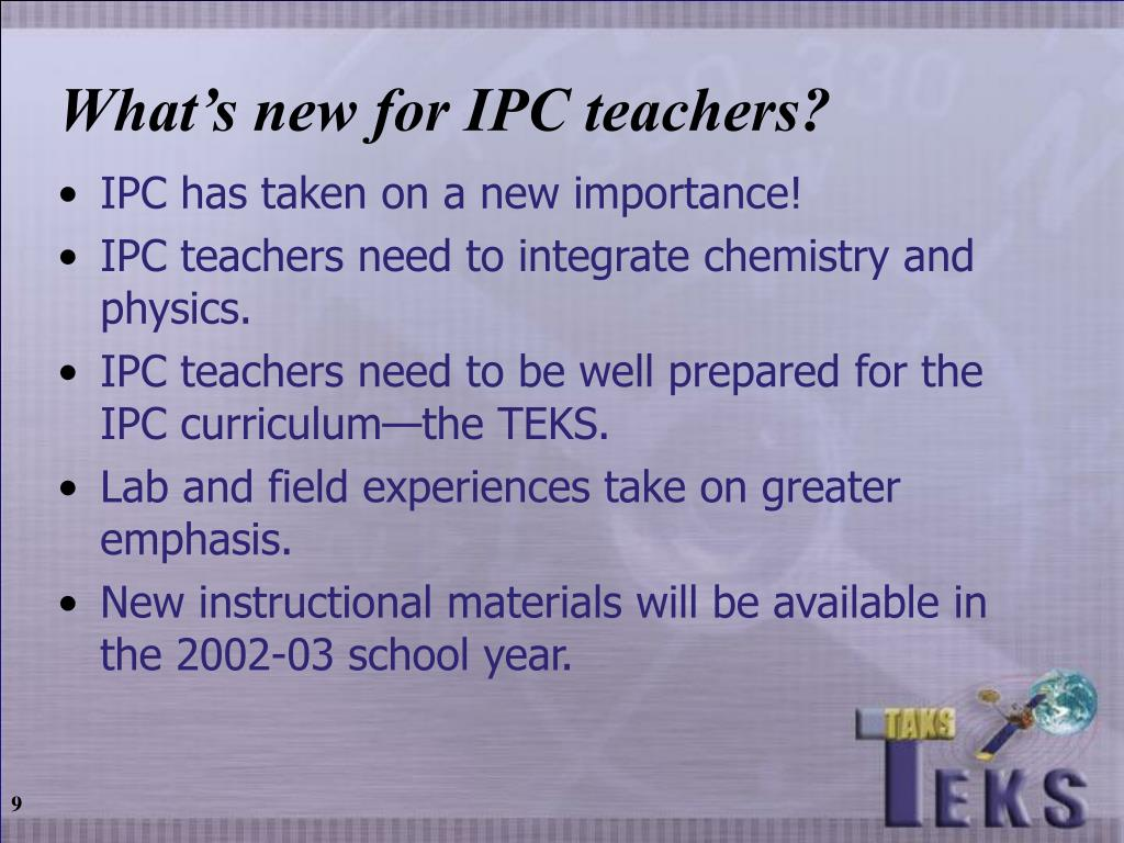 What's new for IPC teachers?