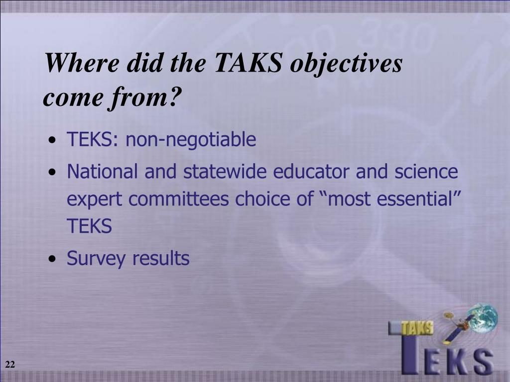 Where did the TAKS objectives