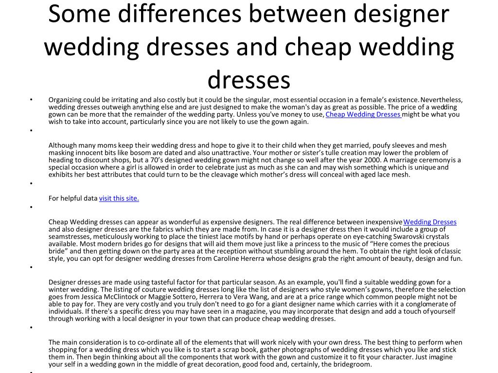 some differences between designer wedding dresses and cheap wedding dresses