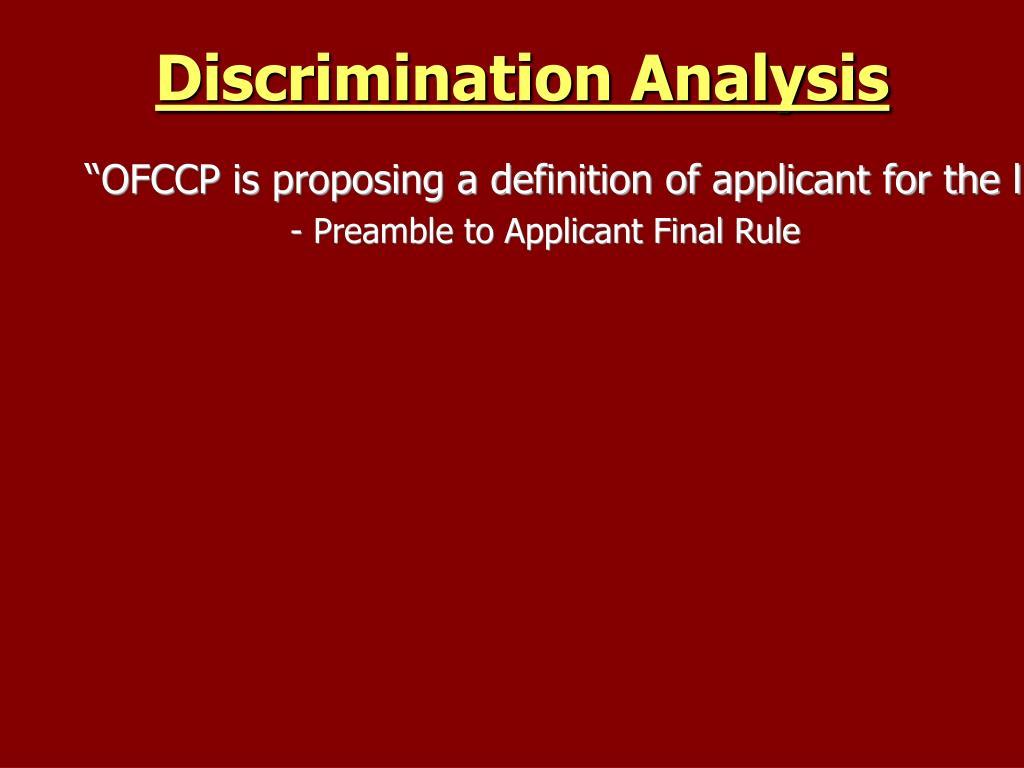 Discrimination Analysis