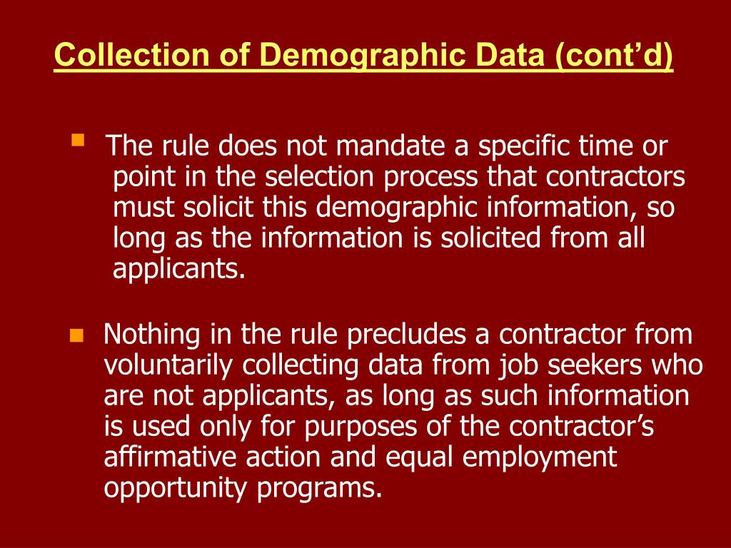 Collection of Demographic Data (cont'd)