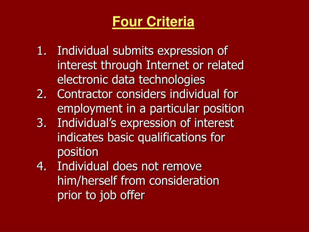 Four Criteria