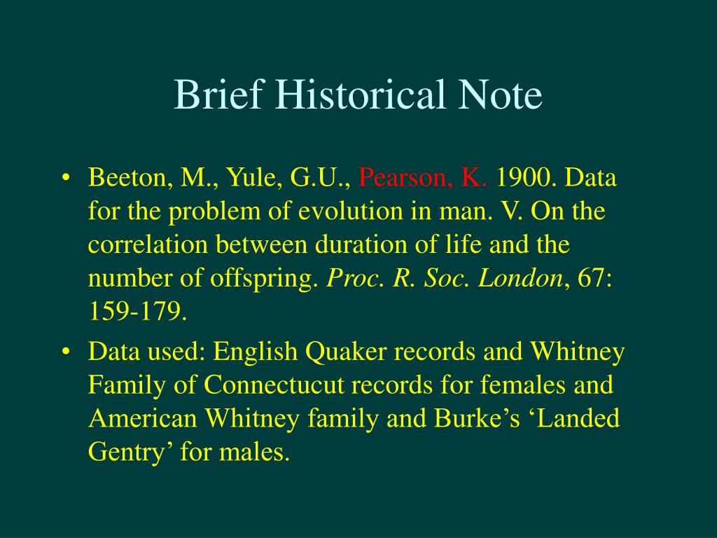 Brief Historical Note