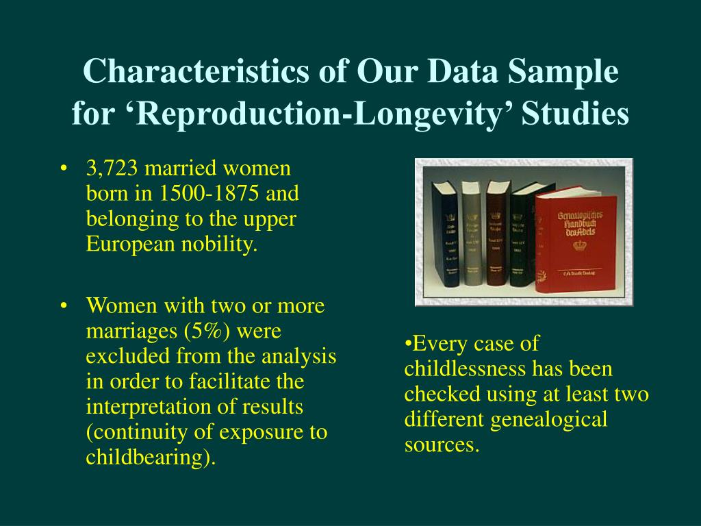 Characteristics of Our Data Sample for 'Reproduction-Longevity' Studies