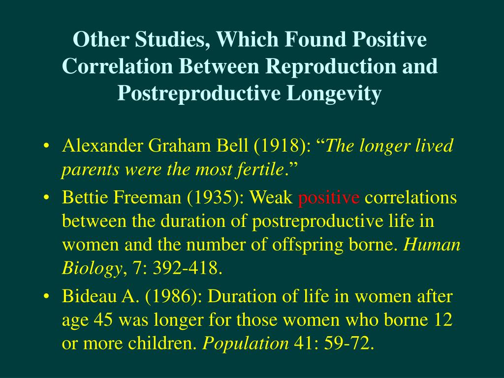 Other Studies, Which Found Positive Correlation Between Reproduction and Postreproductive Longevity