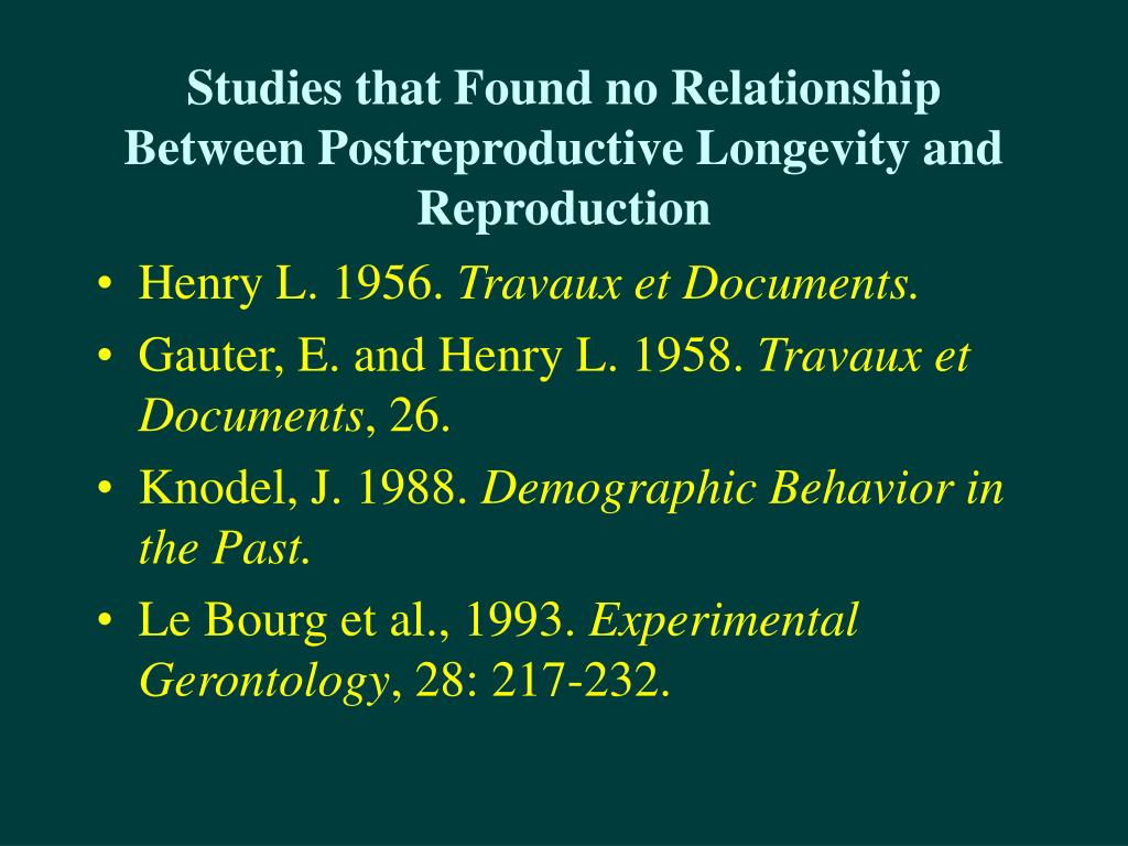 Studies that Found no Relationship Between Postreproductive Longevity and Reproduction