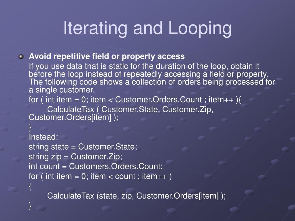 Iterating and Looping