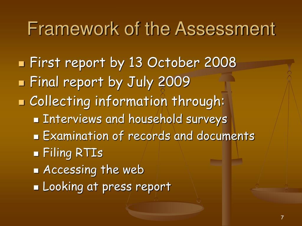 Framework of the Assessment