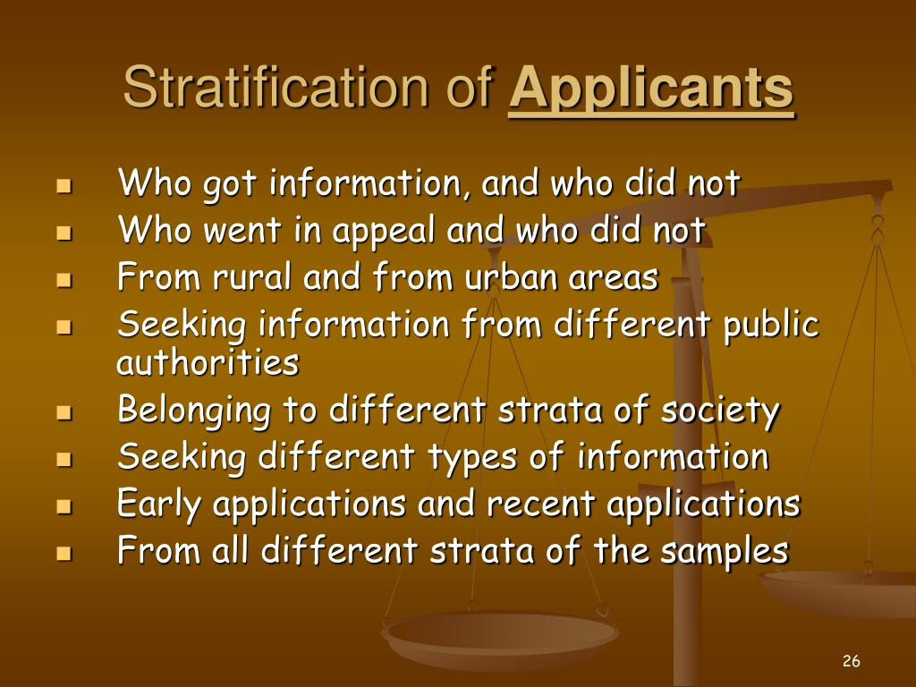Stratification of