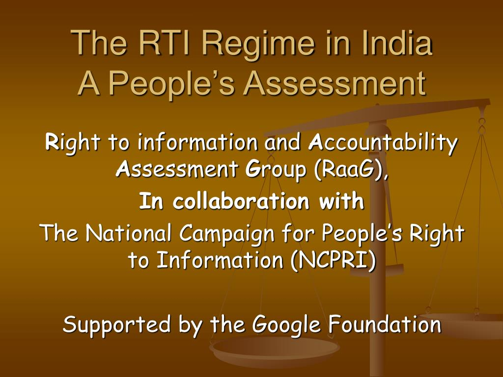 The RTI Regime in India