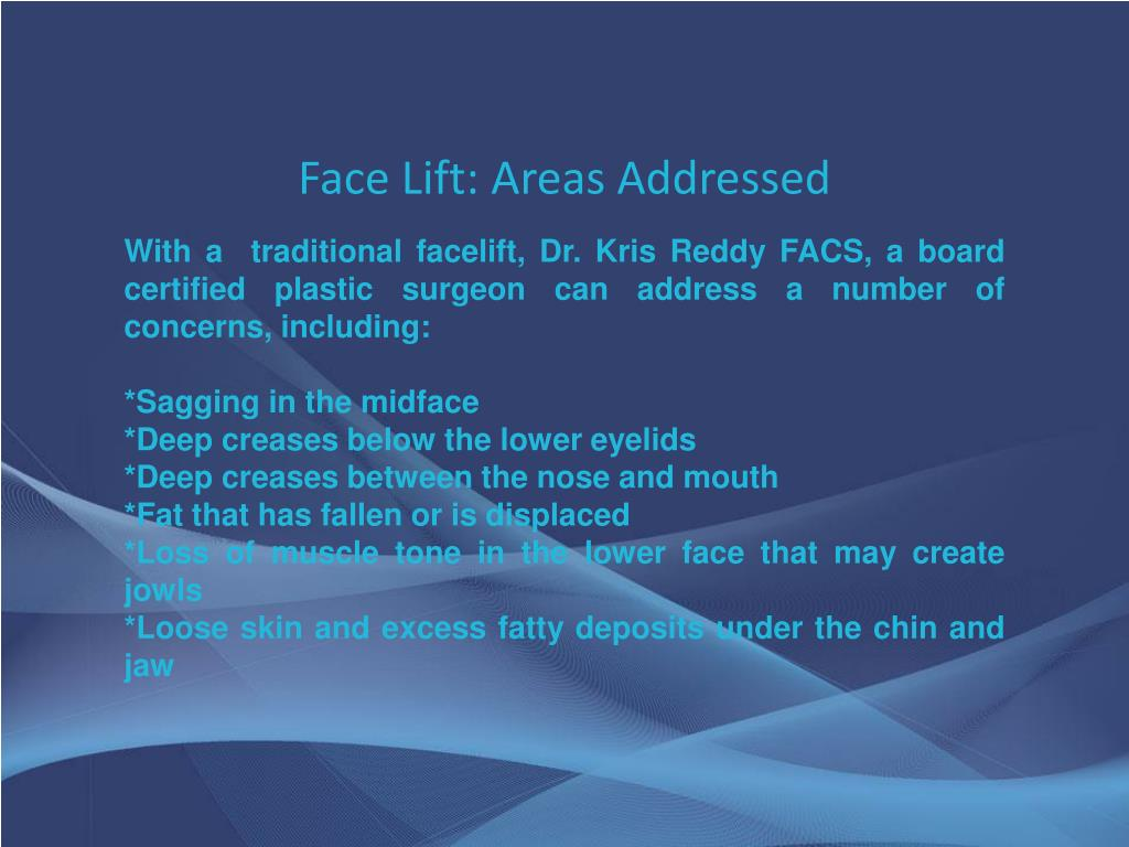 Face Lift: Areas Addressed