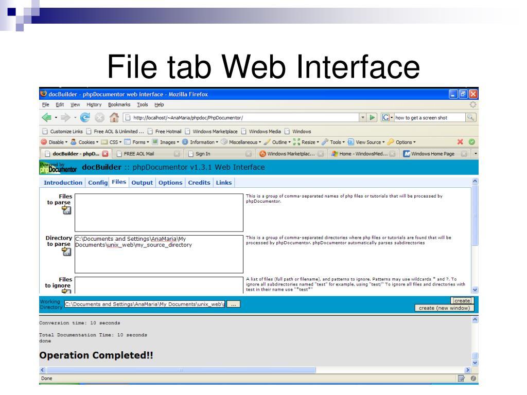 File tab Web Interface
