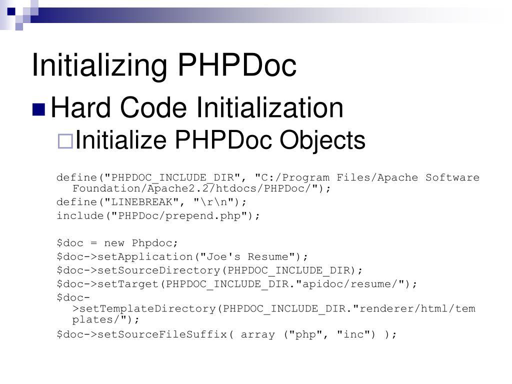 Initializing PHPDoc