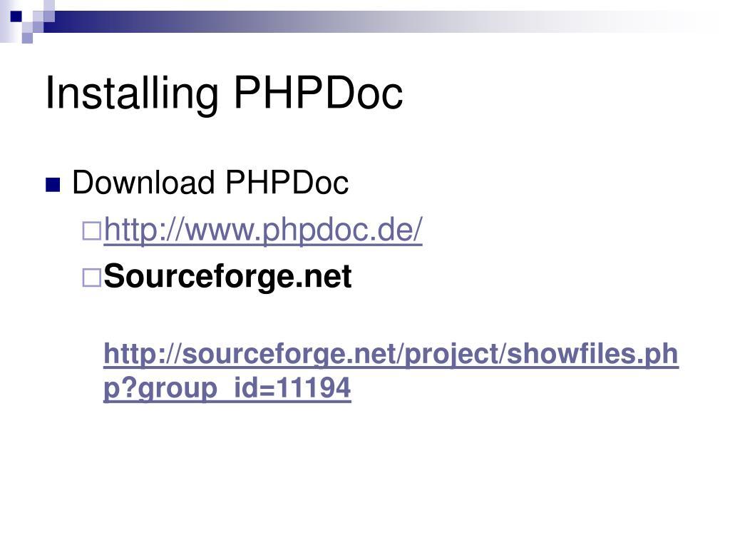 Installing PHPDoc