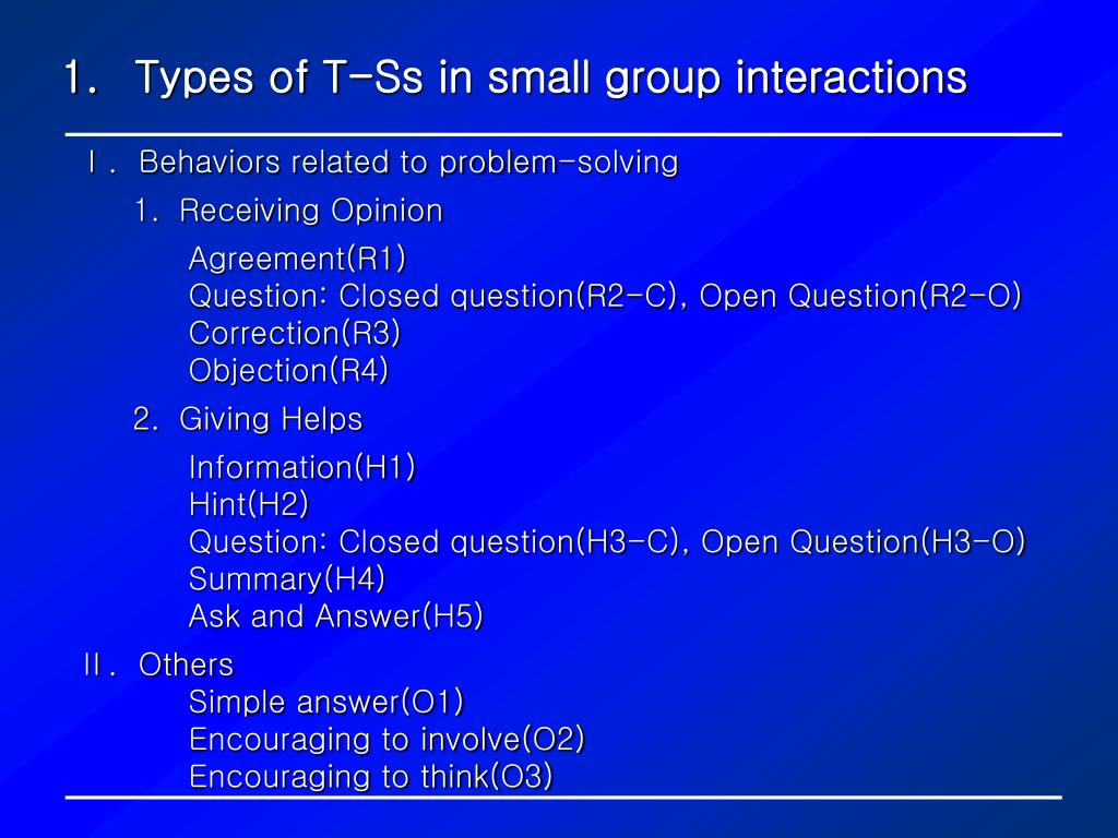 Types of T-Ss in small group interactions