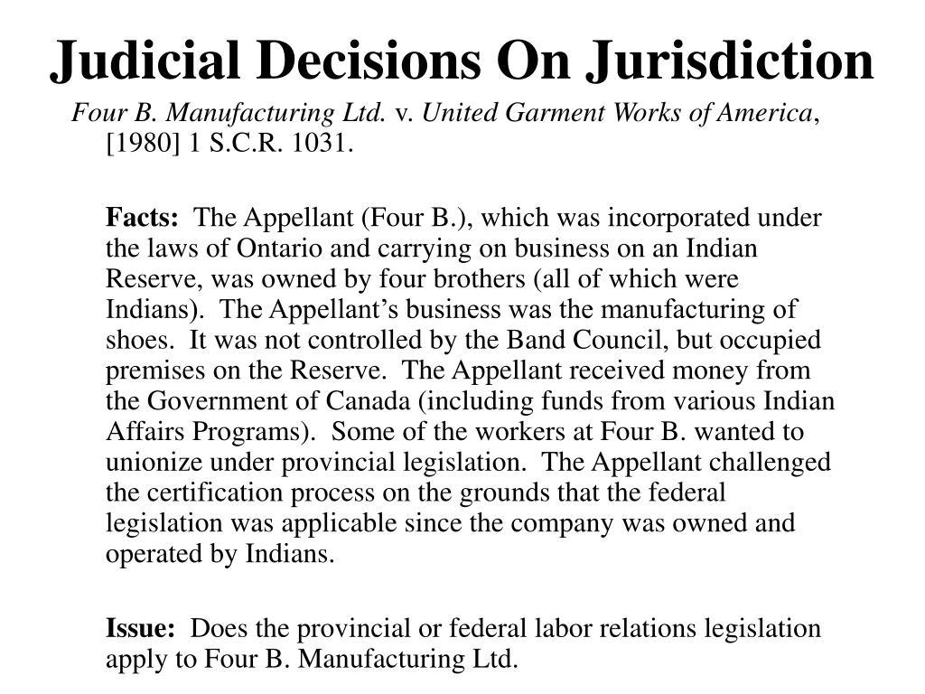 Judicial Decisions On Jurisdiction